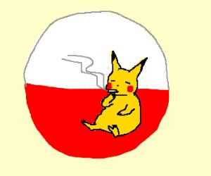 Pikachu smoking inside a pokeball
