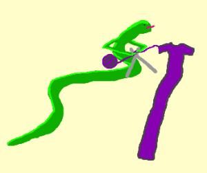 Snake takes up knitting