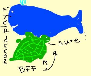 Turtle gets friend zoned by a whale