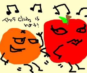 dancing fruits and veggies
