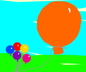 A bunch of tiny balloons and 1 big one