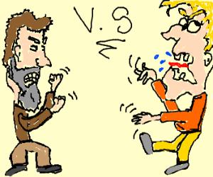 bearded man vs. insane man