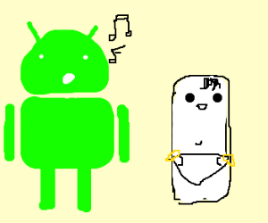 Droid sings to chalk baby