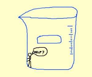 Tiny man stuck in a beaker