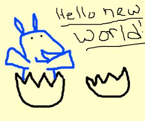 blue pony born form an egg