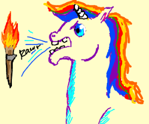 Rainbow Unicorn screaming at torches