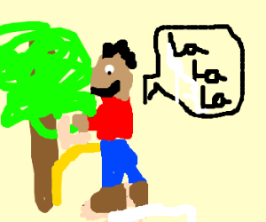 peeing on a tree while singing