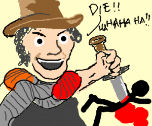 The Fourth Doctor killing a stick figure