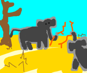 Group of orange stick elephants