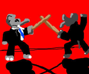 Elephants dueling with sticks