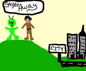 Alien confronts caveman