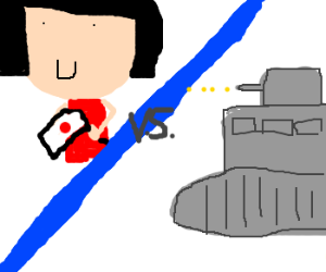 Tokyo: giant 6yo girl vs. tanks