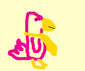 a pink bird with yellow bow