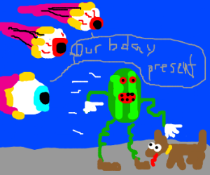 Angry-Eyes Bday WatermelonMan found dog
