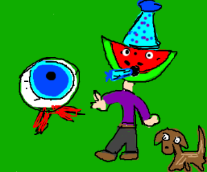 Eye see it's your b-day, melon man & dog