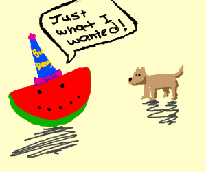 Slice of watermelon wanted puppy 4 b-day