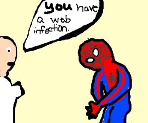 Spiderman is unhappy after doctor visit