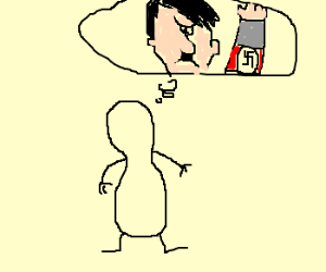 outlineOf a peanut sees vision of hitler