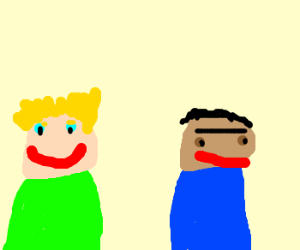 2 men 1 blonde 1 with monobrow