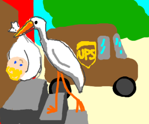 Stork working for UPS delivering baby