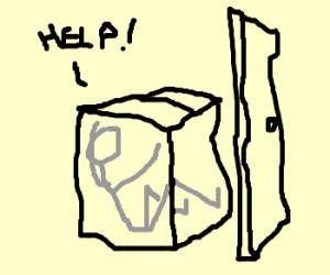 Help!  I'm stuck in a box behind a door!