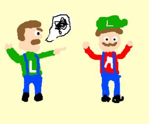 Luigi curses at Mario for taking his hat