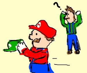 Mario stole Luigi's hat