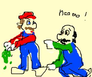 Mario rips Luigi's hat to pieces.