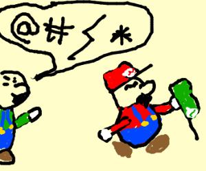 Mario takes Luigi's beret.