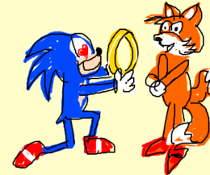 Sonic proposes to tails.