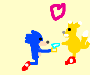 "Sonic gives engagement ""ring"" to Tails."