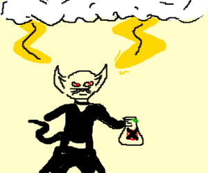 Evil cat man w/ poison,hit by thunders