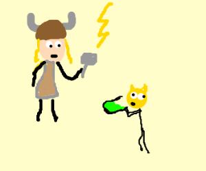 Thors human cat drinks acid