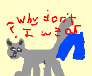 An animal asks why they don't wear pants