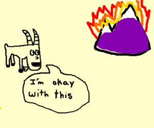 goat likes that the mountain burns