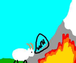 Goat not bothered by mountain fire