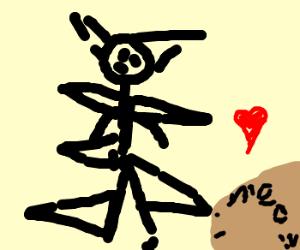 Spiky man loves his giant cat