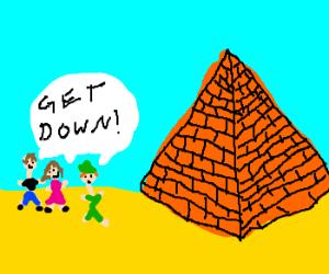man,girl and peter pan want pyramid down