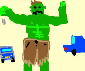 Hulk uses hand turn signals