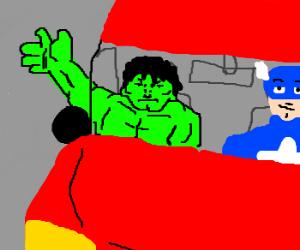 Captian America and Hulk in van