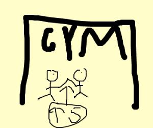 2 pals at the gymnasium