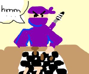 Samurai plays chess.