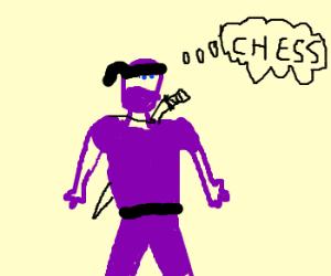 purple ninja is thinking about chess