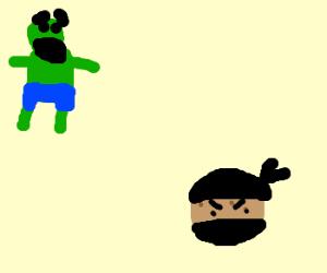 Hulk is scared of ninja cookie
