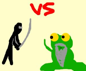 Ninja vs frog with a beard