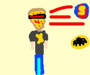 Pizza Xman, firing lazer at superheroes