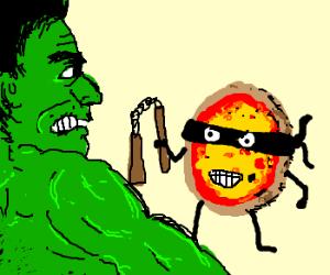 Ninja pizza thinks he can beat superhero