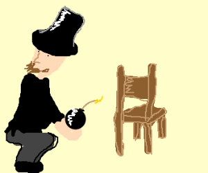Abe Lincoln placing a bomb under a chair - drawing by TimchikNG