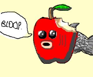 "applefish says ""bloop"" w/ bite out of it"