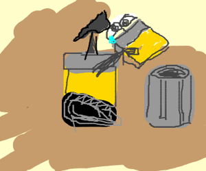 Wall-E disposes of broken duplicate